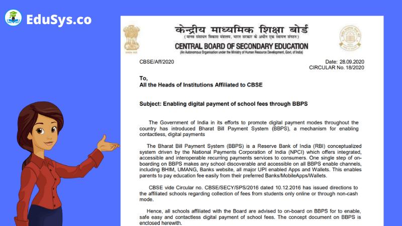 NPCI BBPS CBSE Guidelines (2021-22) -  Enabling digital payment of school fees