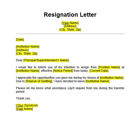 Resignation Letter Format Template from www.edusys.co