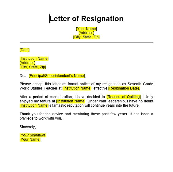 5  teacher resignation letter sample format templates  2020