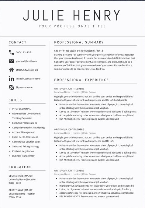 Teacher Resume Sample Template 1
