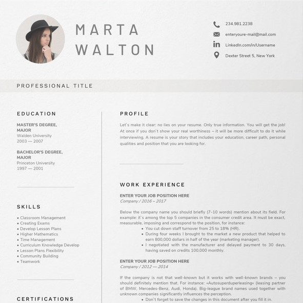 Teacher Resume Sample Template 4