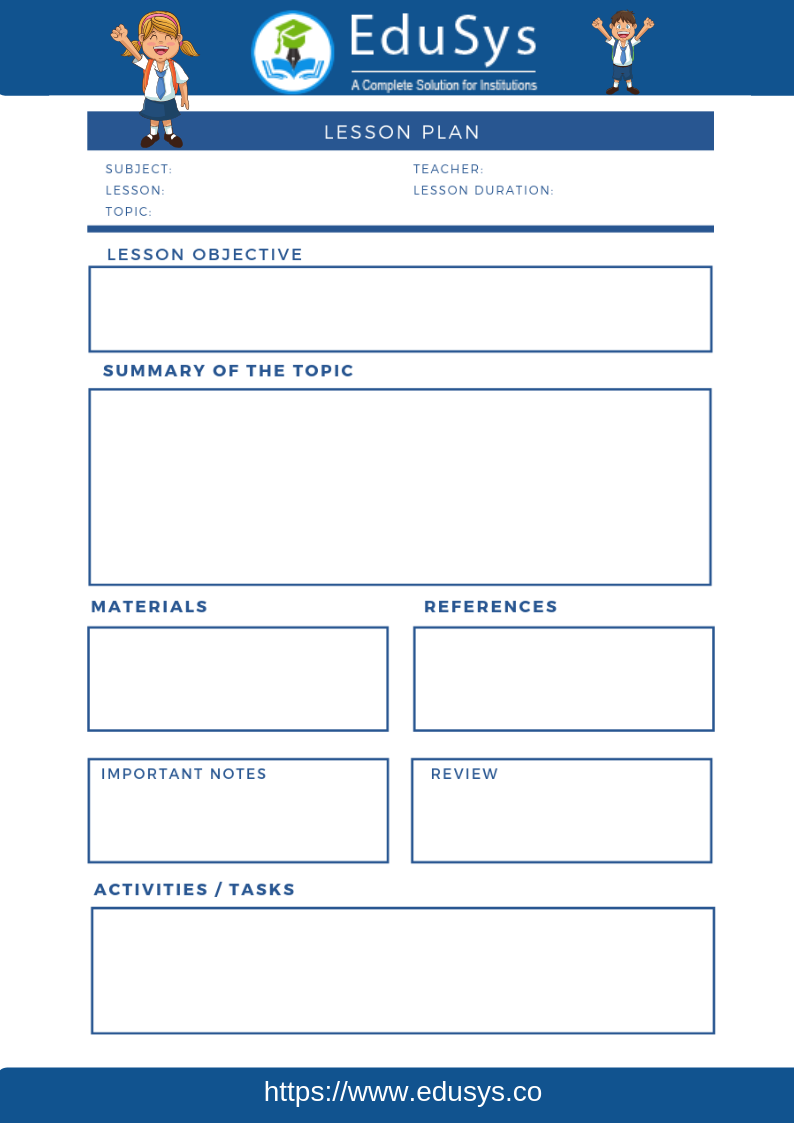 Teacher lesson planner sample template 1