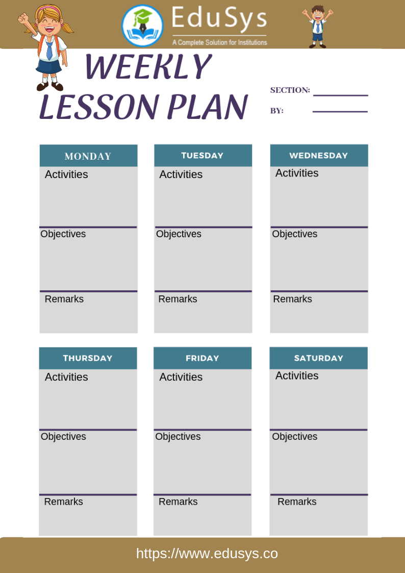 Teacher lesson planner sample template 3