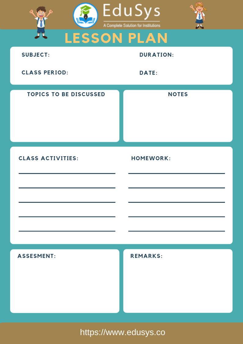 Teacher lesson planner sample template 6